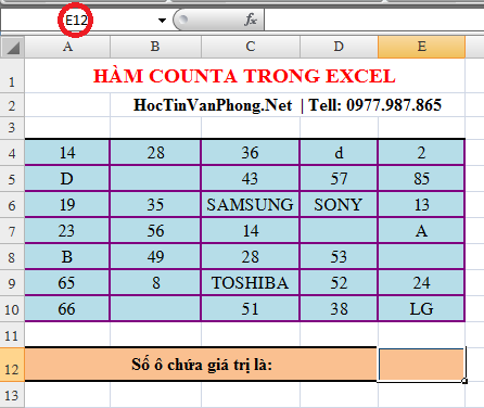 Hàm Counta trong Excel