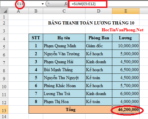 Hàm SUM trong Excel 1