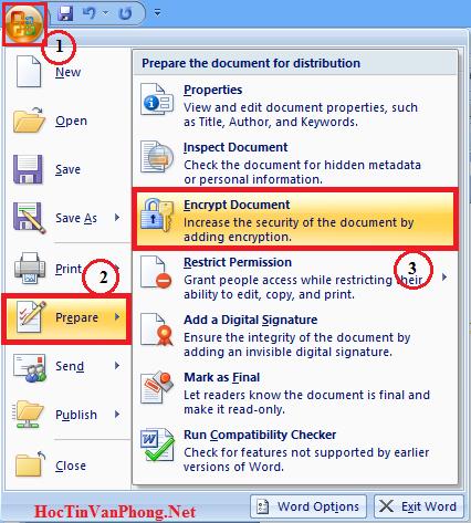 Đặt Password cho Word 2007 - B1