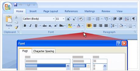 Nhóm lệnh trên giao diện Word 2007