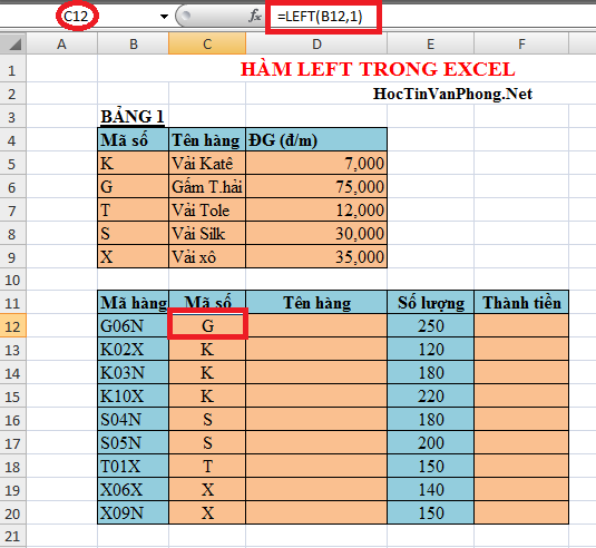Hàm Left trong Excel 1