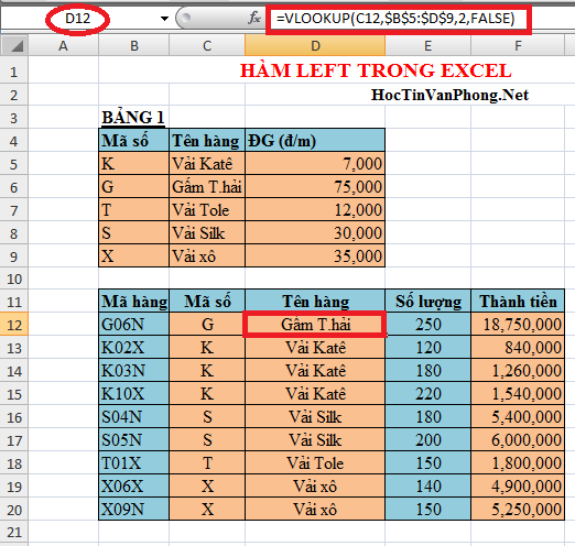 Hàm Left kết hợp hàm Vlookup trong Excel