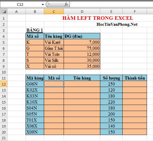 Hàm Left trong Excel