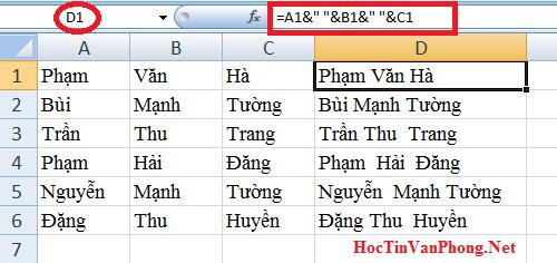 Hàm nối chuỗi trong Excel