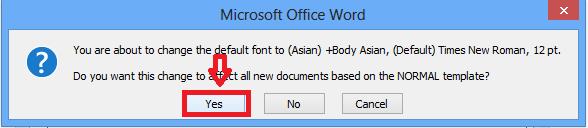 Cài đặt font chữ mặc định trong Word 2007- Bước 3