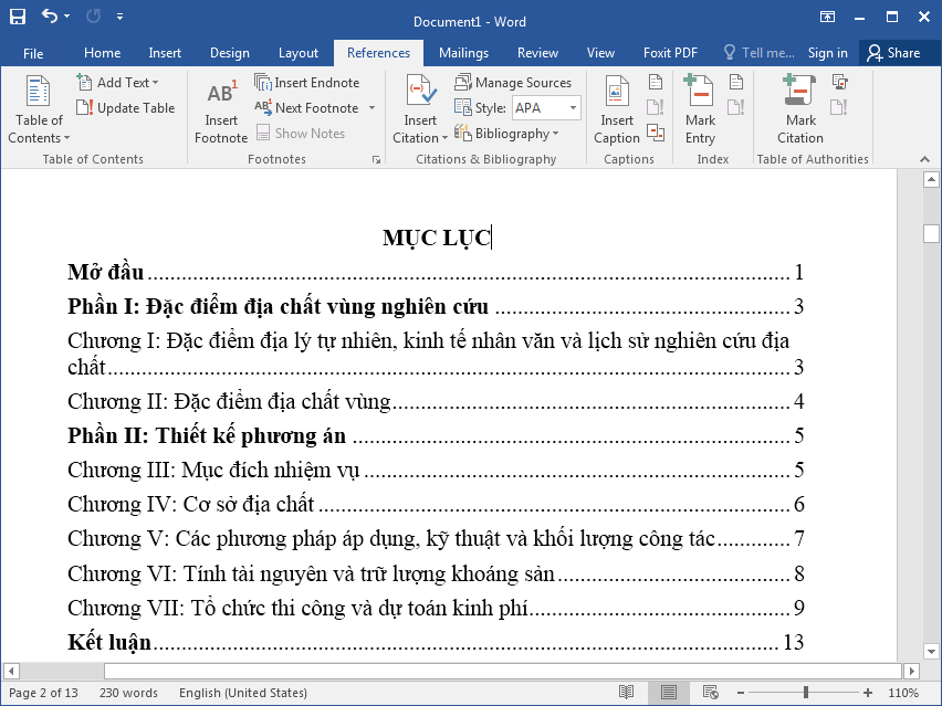 Cách tạo mục lục trong Word