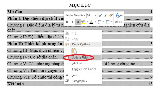 Cách Update mục lục tự động trong word