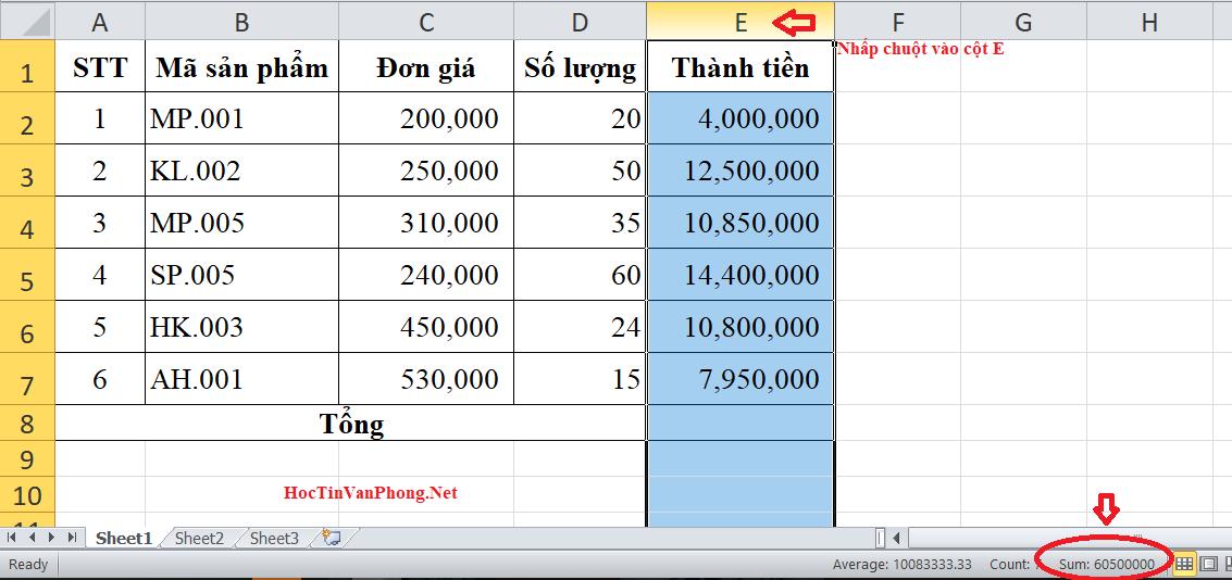 Tính tổng trong Excel