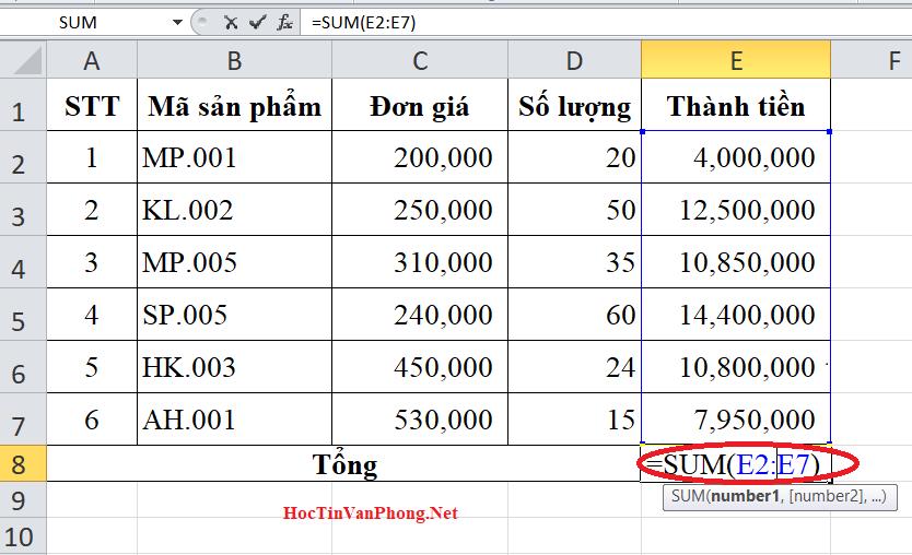 Cách tính tổng trong Excel bằng cách dùng hàm Sum