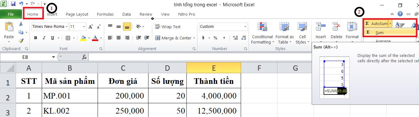 Sử dụng Auto Sum để tính tổng trong Excel