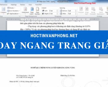 Cách xoay ngang 1 trang giấy trong word 2007