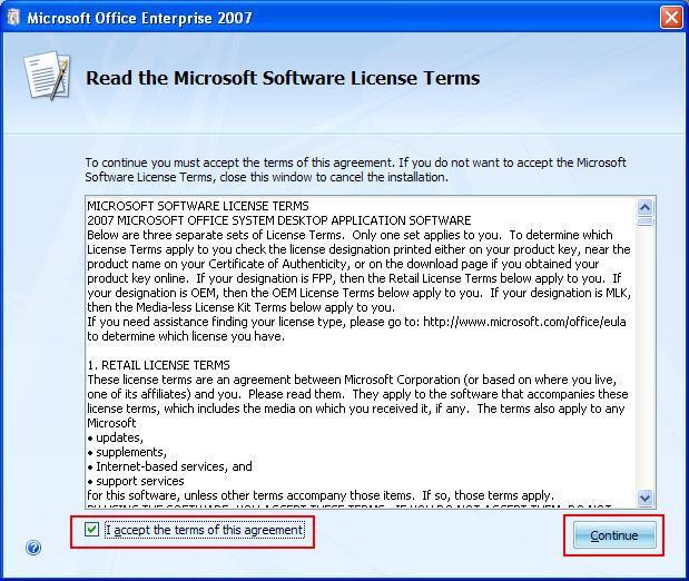 Cách cài Office 2007 - Accept License Office 2007